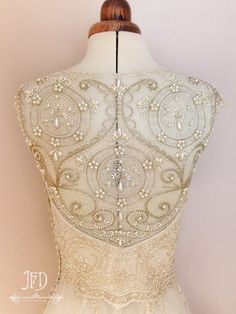 Champagne silk and beaded lace wedding dress with feature hand beaded back, by Joanne Fleming Design