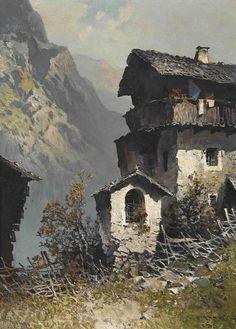 Oskar Mulley (Austrian, 1891-1949), Bildstock vor einem Bergbauernhof [Shrine in front of a mountain farm], probably 1940s. Oil on canvas, 71 x 51cm.