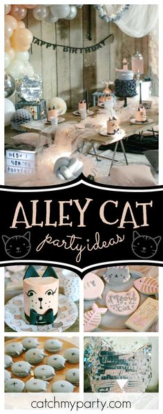 Take a look at this gorgeous Alley Cats birthday party! The cakes are amazing!! See more party ideas and share yours at CatchMyParty.com  #partyideas  #cat