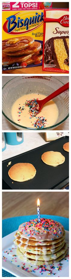 Batter Pancakes Make Birthday Mornings special with Cake Batter Pancakes!Make Birthday Mornings special with Cake Batter Pancakes! Cake Batter Pancakes, Pancakes And Waffles, Birthday Morning, Birthday Breakfast, Yummy Treats, Sweet Treats, Yummy Food, Tasty, Smoothies