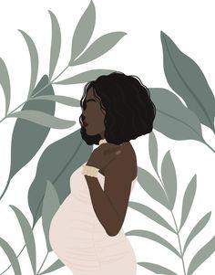 Art And Illustration, Portrait Illustration, Black Girl Art, Black Women Art, Art Girl, Birth Art, Pregnancy Art, Black Art Painting, Magic Art