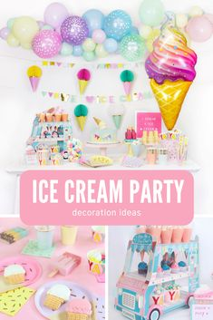 Kids Ice Cream Birthday Party Ideas - Momo Party - Kids Ice Cream Birthday Party Ideas Awesome party decoration ideas for an adorable ice cream party. Featuring ice cream themed party supplies in pastel colors, it's perfect for this summer! 2nd Birthday Party Themes, First Birthday Parties, Birthday Party Decorations, 4th Birthday, Birthday Ideas, Ice Cream Theme, Ice Cream Party, Ice Cream Decorations, Mason Jars