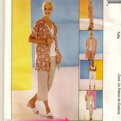 A Sleeveless Maxi Dress and Top, Unlined Short Sleeve Jacket, and Pull-On Capris, Pants and Shorts Pattern