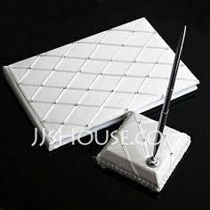 Guestbook - $33.94 - Check Design Wedding Guest Book and Pen Set With Rhinestones(101018151) http://jjshouse.com/Check-Design-Wedding-Guest-Book-And-Pen-Set-With-Rhinestones-101018151-g18151