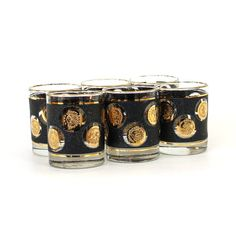 Set 6 Libbey 22k Gold Coin Old Fashioned Rocks by retrosymphony