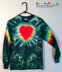 Tie Dye Long Sleeve Tshirt   Green Rainbow by RainbowEffectsTieDye, $20.00