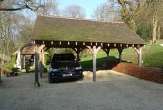 Not only do we supply but we contrust the beautiful oak double bay garages. Location Plan, Gazebo, Pergola, Oak Framed Buildings, Carport Designs, Lake Cabins, House Extensions, Cladding, Relax
