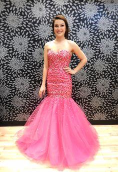 Pink Fully Beaded Mermaid Prom Dress|$405|Shop Bridal Cottage #shopbridalcottage #thebridalcottage #onlineboutique