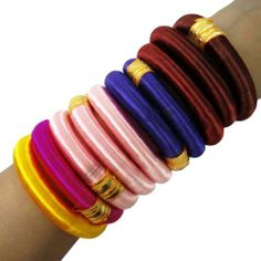 Multi Color 10 Pcs Silk Thread Wrapped Bangle Set Fashion Indian Jewelry Size | eBay