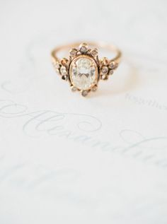 Vintage diamond ring: http://www.stylemepretty.com/2017/02/15/the-ultimate-elegant-backyard-wedding-inspiration/ Photography: Shannon Moffit - http://www.shannonmoffit.com/