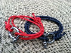 Nautical sailing bracelet v1. Navy, red, or white, stainless steel bow shackle closure.. $27.00, via Etsy.