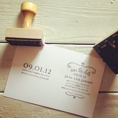 rubber stamp for save the dates; stamp the back of your favorite engagement photo, saves money and gives a vintage look. (note: make sure to use some sort of card stock, the stamping ink will not stay on photo paper.)