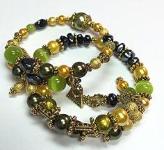 Pair of Bracelets Yellow & Green Bracelet  by TheaDesignConcepts