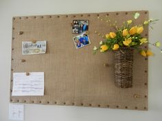 So easy and love the upholstery nails and basket I added, which I can change out the flowers seasonaly. Burlap Cork Boards, Burlap Bulletin Boards, Church Bulletin Boards, Cork Crafts, Diy And Crafts, School Displays, Upholstery Nails, Classroom Themes, Sign Design