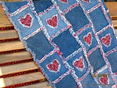 Denim rag quilt with patches - so cute! ********************************************  ShabbySoul - #denim #Rag #Quilt t√
