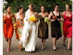10 Bridesmaid Dresses in Autumn Wedding Colours    #Fall #Wedding #Idea