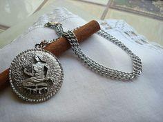 Vintage Virgo Zodiac Silver Tone Necklace Pendant    SelectionsBySusan - Jewelry on ArtFire