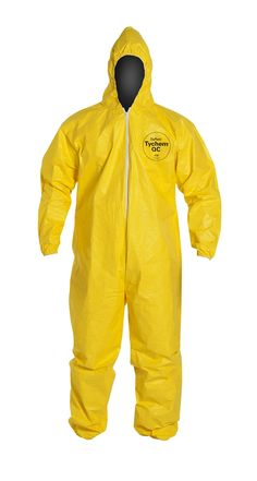 Amazon.com: DuPont QC127S Tychem Coverall with Hood, Disposable, Elastic Cuff, Yellow, 2XL: Industrial & Scientific