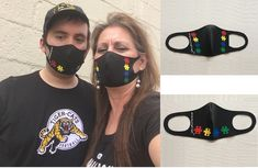 Autism Washable Masks with puzzle pieces. Do not lay flat on your face with the middle seem. Very easy for people to breath with these and very comfortable Puzzle Pieces, Autism, Round Sunglasses, Masks, Middle, Flat, People, Stuff To Buy, Beauty