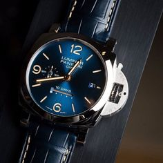 The absolutely gorgeous #Panerai #PAM689 10 Day GMT with the stunning blue sunburst dial. by @hautetime #PaneraiCentral