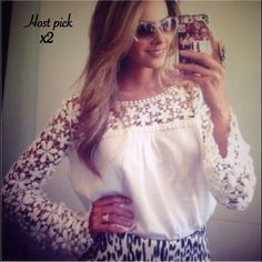 Loose Chiffon Top Beautiful top with chiffon and lace throughout the top and sleeves. Color white. New! PRICE FIRM UNLESS BUNDLED Boutique Tops Blouses