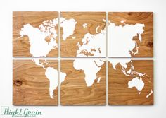 Large Wood Grain World Map Print Collection  Custom by RightGrain, $225.00