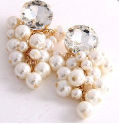 Pearls Drop Evening Earrings