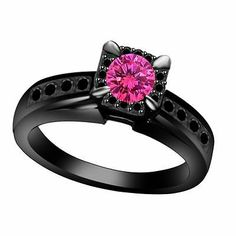 3 4 cttw Halo Engagement Ring with Pink Sapphire Black Diamonds in 10K Gold | eBay