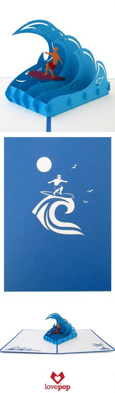 Surprise someone with this unique paper art. A surfer dude pops up out of this awesome greeting card.