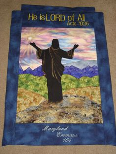 This was an art quilt made for Maryland Emmaus Walk #164.  I made this using a simple clipart image and then filling with appropriate fabrics.  I used thread and gold paint for accents.  This is one of my favorite items of all times that I have made. :)