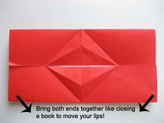 origami kissing lips...can be used in valentine's day card....