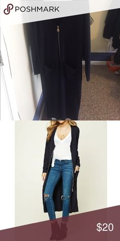 Longline Zip Cardigan Navy Blue, never worn - Got the wrong size and is no longer available online - S/M - Will take offers Forever 21 Sweaters Cardigans