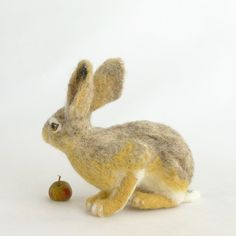 Hare/Needle felted hare/Felted hare/Felted animals/Soft sculpture/Wool/Natual fiber/Realistic animals/Home decor/Wool art/Collectible The Artist, Needle Felted, Soft Sculpture, Felt Animals, Hare, Etsy, Animales, Gift, Bunny
