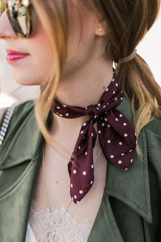 Shop At Forest - Buy Silk Scarves Singapore and Singapore Brooches Polka dot neck scarf fashion accessory Outfits Mujer, Looks Chic, Summer Scarves, How To Wear Scarves, Neckerchiefs, Green Suede, Scarf Hairstyles, Neck Scarves, Mode Outfits