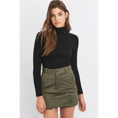 Cooperative by Urban Outfitters Urban Outfitters Wide Ribbed... (€34) ❤ liked on Polyvore featuring tops, sweaters, black, turtleneck sweater, long sleeve turtleneck, polo neck top, turtleneck top and long sleeve tops