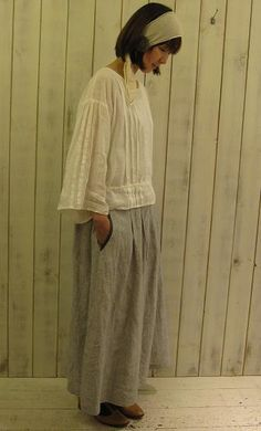 cool, comfy pleated linen top and skirt