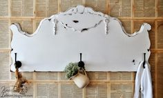 Repurposed Antique Headboard into Coat Rack ~~by Knick of Time  http://knickoftimeinteriors.blogspot.com/