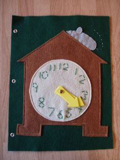 Idea - Clock Green Felt Quiet Book Page Ages 3 and up. $6.00, via Etsy.