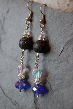 Royal Blue Faceted Earrings with Lava Stone. by SilverChaseDesigns, $15.00