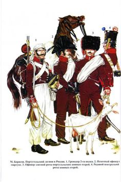 Portual; Portugese Legion in French service L to R Infantry Grenadier, CHasseur a Cheval Officer, Chasseur Elite Company and Chasseur