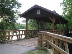 Chattahoochee Riverwalk - Hiking and Biking Trail at Bibb City in Columbus, Georgia ~ Covered Pedestrian and Bicycle Bridge: Photo by Gary Dunn~ Sarah's Country Kitchen ~ South Ossetia, Down South, Cool Places To Visit, Places To Go, Fort Benning, Columbus Georgia, Bike Trails, Biking, Pedestrian Bridge