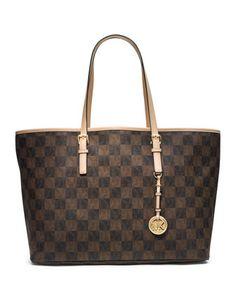 MICHAEL Michael Kors  Jet Set Multifunction Logo Travel Tote.  OMG a BROWN checkered bag by MK!!!