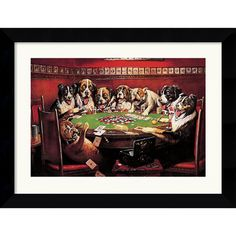 @Overstock - C. M. Coolidge 'Poker Sympathy' Framed Art Print - No game room or bachelor pad is complete without a copy of this classic framed art print. Sure to make your guest smile, these grinning, card-playing dogs evoke warm memories of those all-night poker sessions with your frat brothers or work friends.  http://www.overstock.com/Home-Garden/C.-M.-Coolidge-Poker-Sympathy-Framed-Art-Print/5562003/product.html?CID=214117 $89.99
