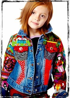 embellished denim jacket  --  OH I LOVE THIS SO MUCH!!  The bright funky fabrics REALLY MAKE this AWESOME!!!  fran --