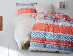 Renforcé-Bettwäsche in wundervollen Farben. | Betten.de #design #skandinavian #bettwäsche #s.Oliver http://www.betten.de/renforce-wendebettwaesche-soliver-muster-koralle-blau.html
