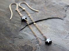 Starduster  Asymmetrical Minimalist Dangly Earrings by SketchLines