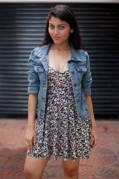 Floral Dress  Teamed With Denim Jacket Summer in Style