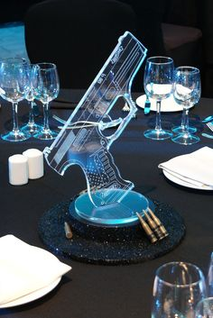 Simple bond themed table centre with glitter plinth, acrylic and ammunition at the intercontinental Casino Night Party, Casino Theme Parties, Party Themes, Party Ideas, James Bond Party, James Bond Theme, James Bond Wedding, Casino Royale, Spy Birthday Parties