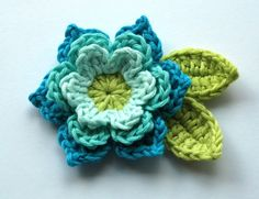 Crochet Flower in Cool Blues and Lime. $4.00, via Etsy.