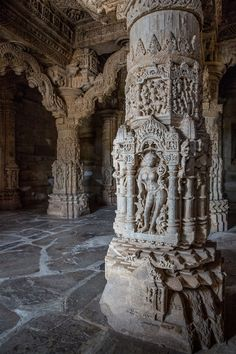 Nagda : Sas Bahu Temples - The pillars had deities carved in. The 3 gods and 3 goddesses of the universe are heavily worshippe - Indian Temple Architecture, India Architecture, Ancient Greek Architecture, Gothic Architecture, Amazing Architecture, Udaipur, Khajuraho Temple, Jain Temple, Hampi